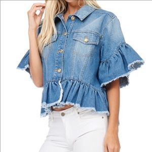 TOV Trucker Riffle Accent Jean Jacket Top Size 38